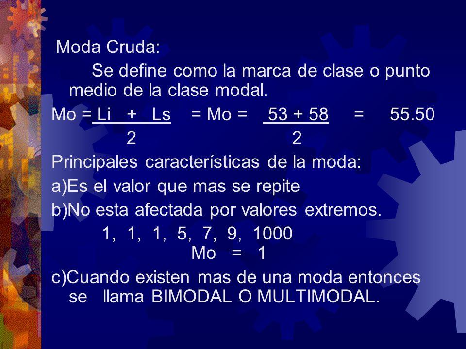 Moda Cruda: Se define como la marca de clase o punto medio de la clase modal. Mo = Li + Ls = Mo = 53 + 58 = 55.50.