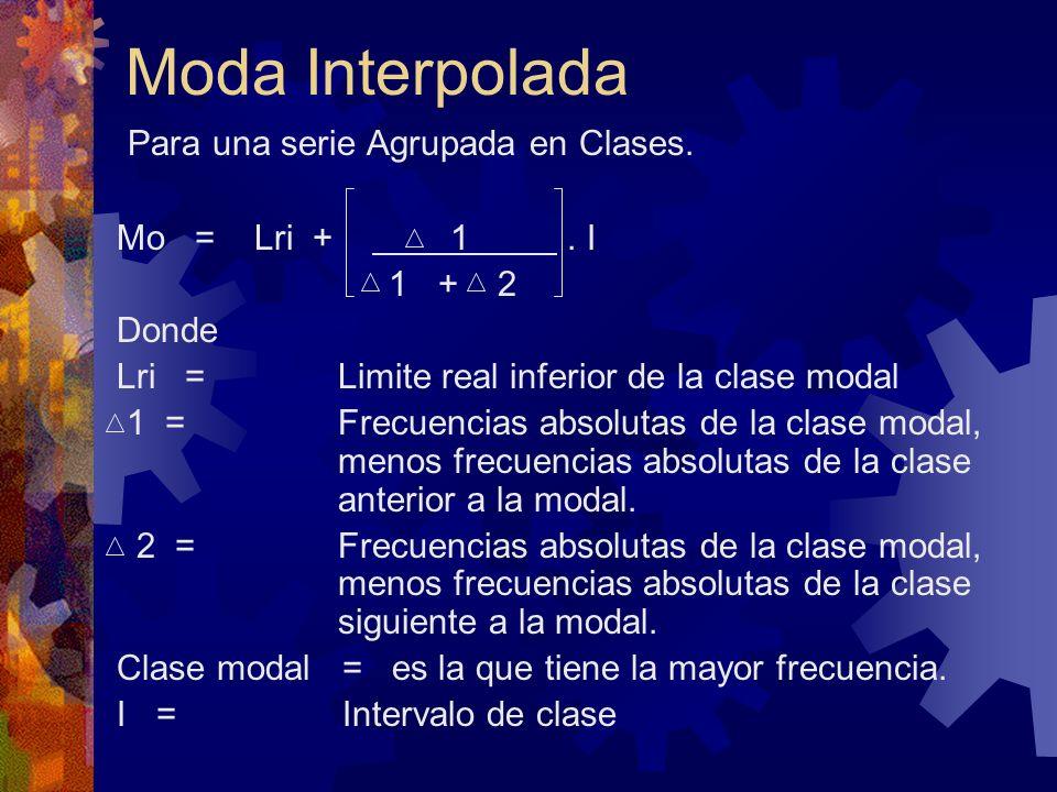 Moda Interpolada Para una serie Agrupada en Clases. Mo = Lri + 1 . I