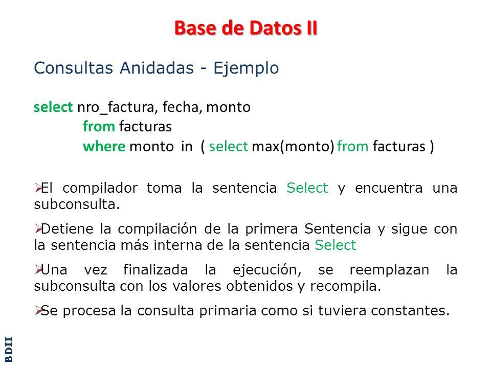 Base de Datos II Consultas Anidadas - Ejemplo