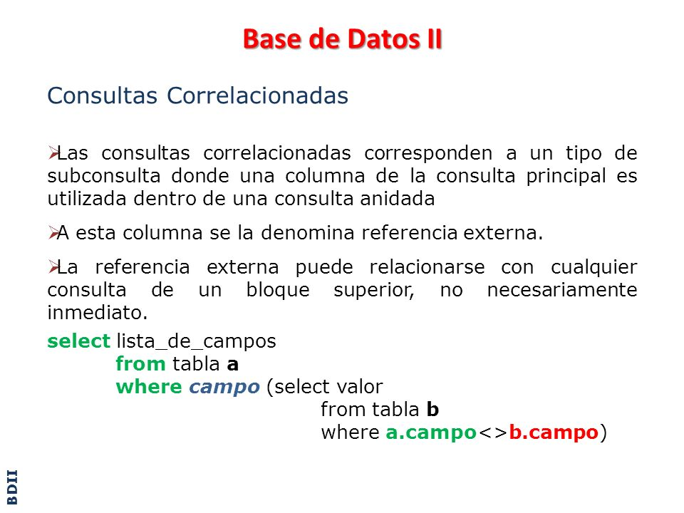 Base de Datos II Consultas Correlacionadas