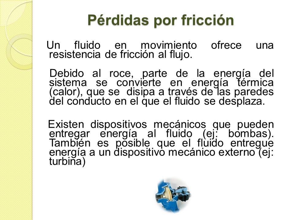 Pérdidas por fricciónUn fluido en movimiento ofrece una resistencia de fricción al flujo.