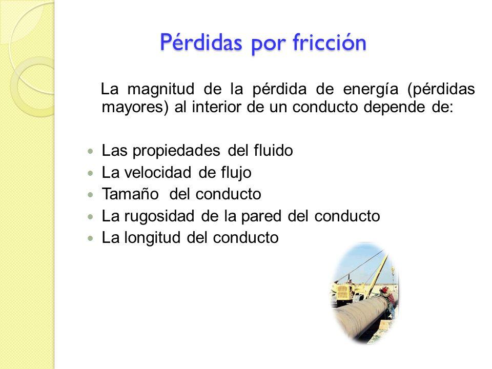 Pérdidas por fricciónLa magnitud de la pérdida de energía (pérdidas mayores) al interior de un conducto depende de: