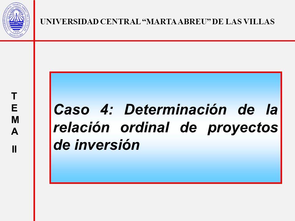 Caso 4: Determinación de la relación ordinal de proyectos de inversión
