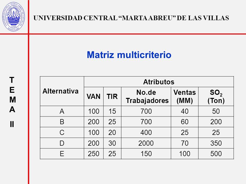 Matriz multicriterio TEMA II