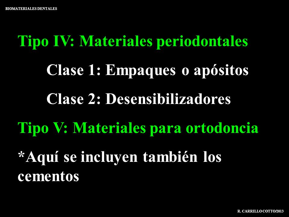 Tipo IV: Materiales periodontales Clase 1: Empaques o apósitos