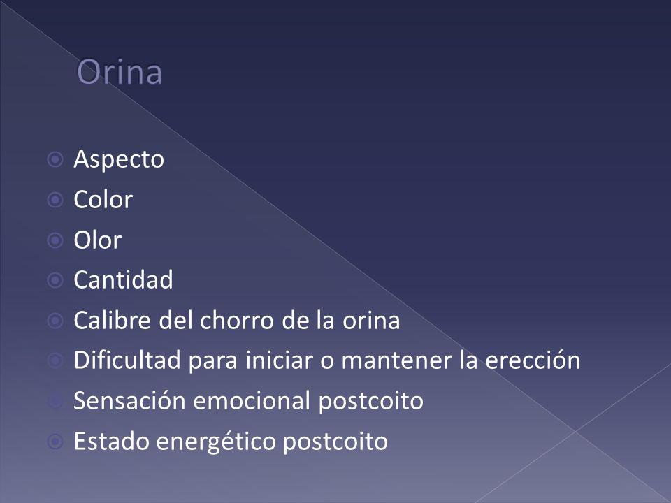 Orina Aspecto Color Olor Cantidad Calibre del chorro de la orina