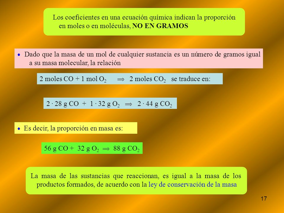 2 moles CO + 1 mol O2   2 moles CO2 se traduce en: