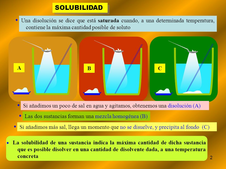 SOLUBILIDADUna disolución se dice que está saturada cuando, a una determinada temperatura, contiene la máxima cantidad posible de soluto.