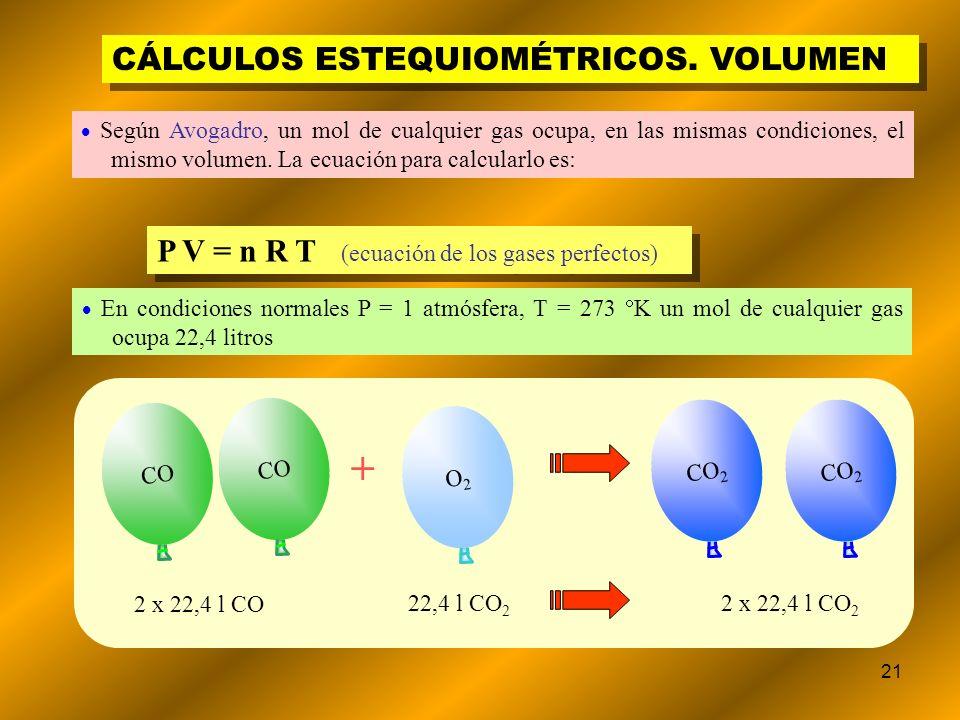 + CÁLCULOS ESTEQUIOMÉTRICOS. VOLUMEN