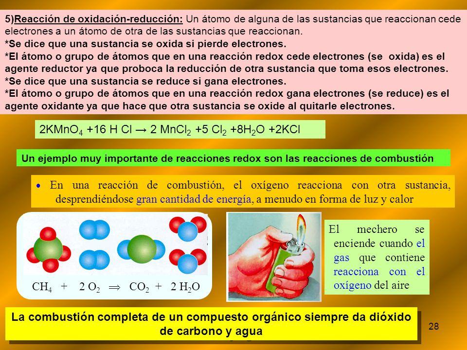 2KMnO4 +16 H Cl → 2 MnCl2 +5 Cl2 +8H2O +2KCl