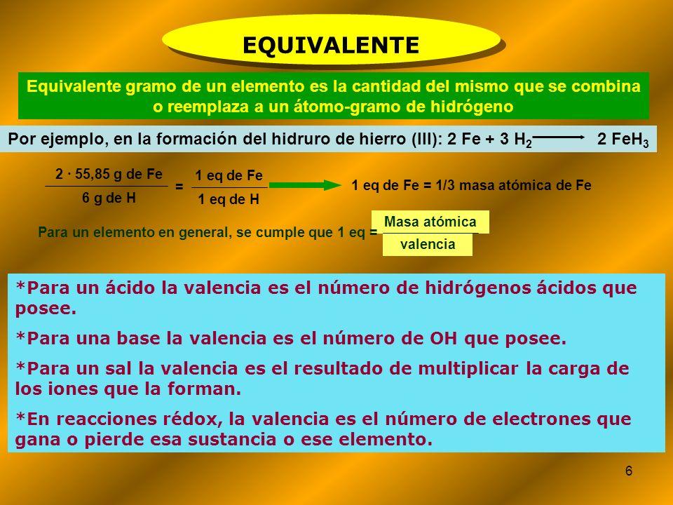 1 eq de Fe = 1/3 masa atómica de Fe