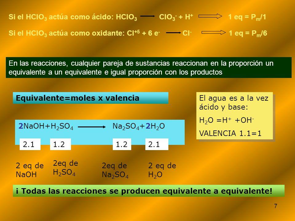 Si el HClO3 actúa como ácido: HClO3 ClO3- + H+ 1 eq = Pm/1