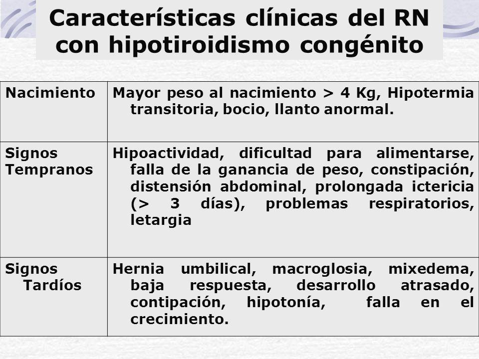 Características clínicas del RN con hipotiroidismo congénito