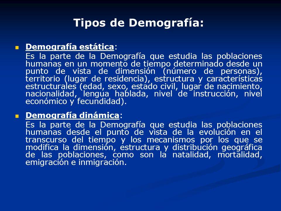 Tipos de Demografía: Demografía estática:
