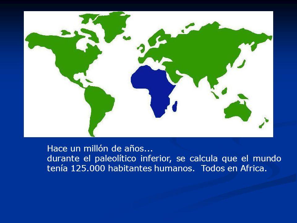 Hace un millón de años...durante el paleolítico inferior, se calcula que el mundo tenía 125.000 habitantes humanos.