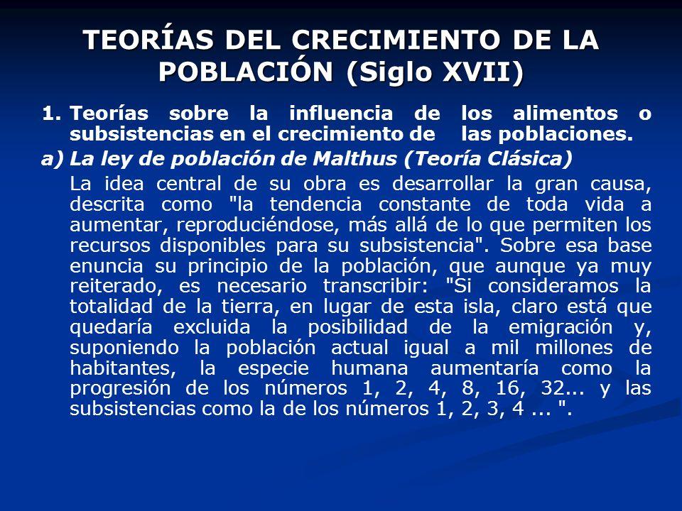 TEORÍAS DEL CRECIMIENTO DE LA POBLACIÓN (Siglo XVII)