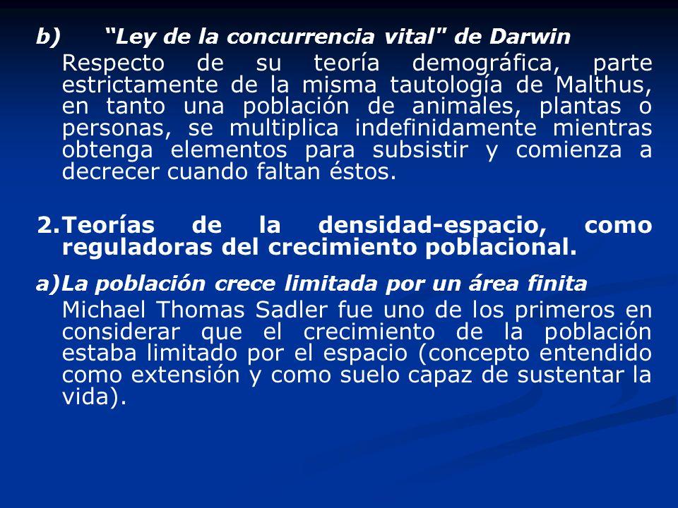 b) Ley de la concurrencia vital de Darwin