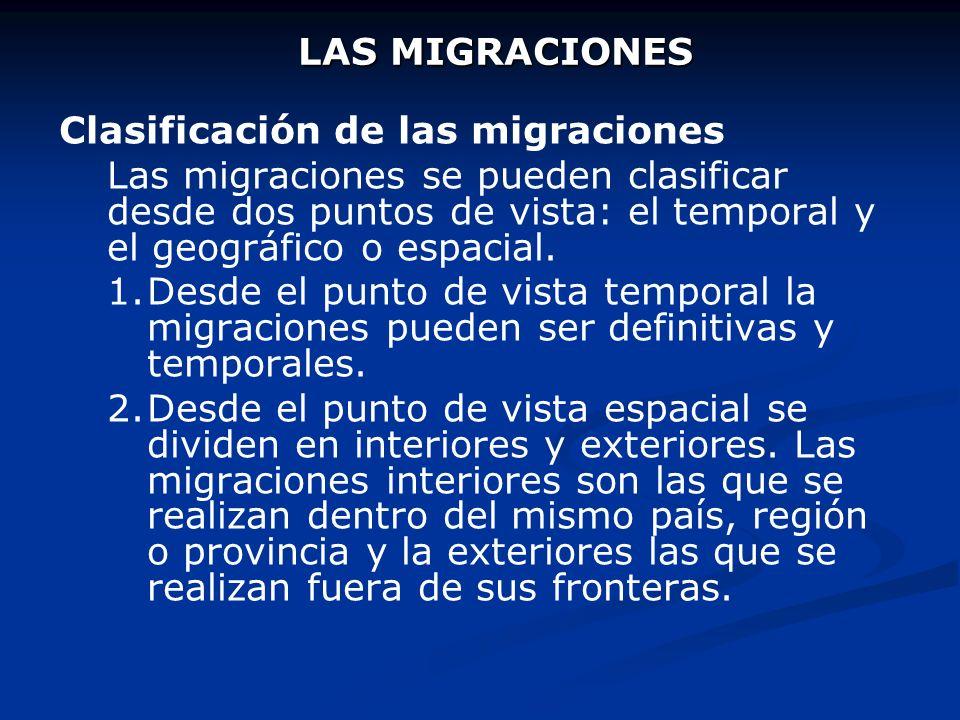 LAS MIGRACIONES Clasificación de las migraciones.