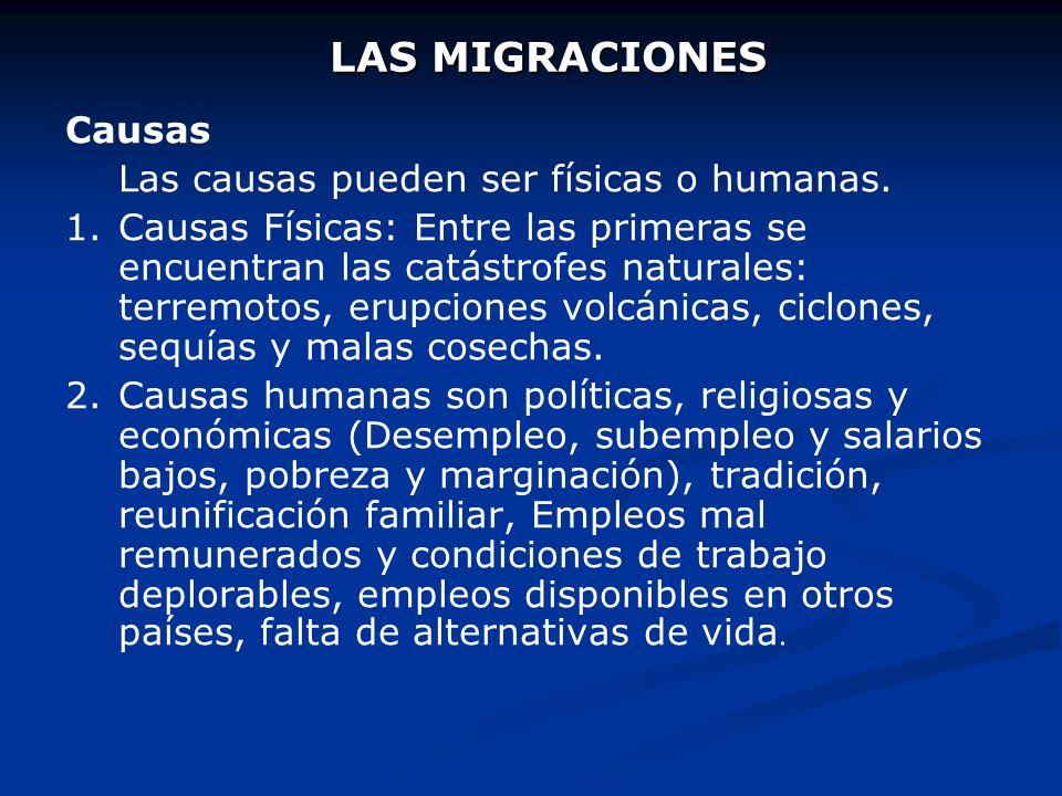 LAS MIGRACIONES Causas Las causas pueden ser físicas o humanas.
