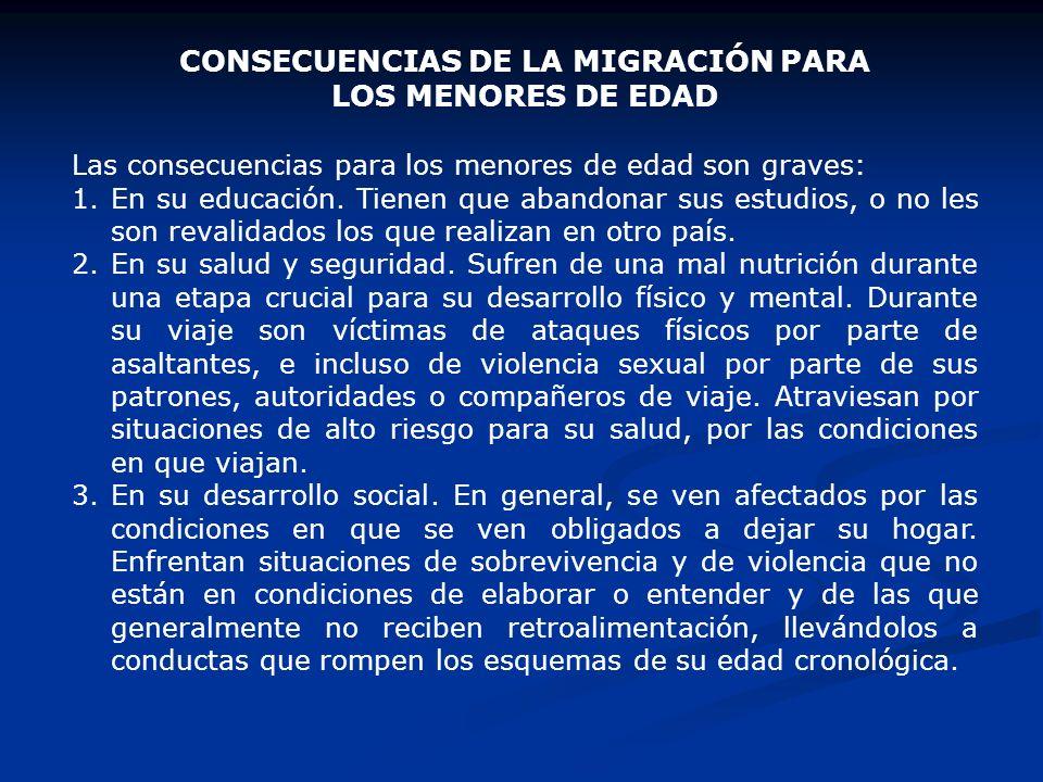 CONSECUENCIAS DE LA MIGRACIÓN PARA