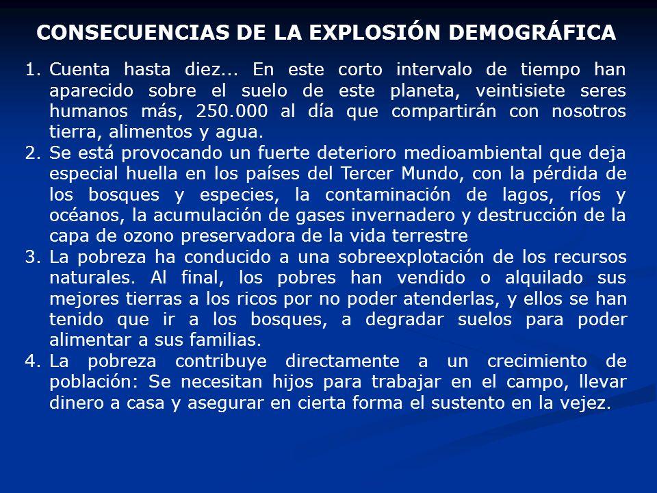 CONSECUENCIAS DE LA EXPLOSIÓN DEMOGRÁFICA