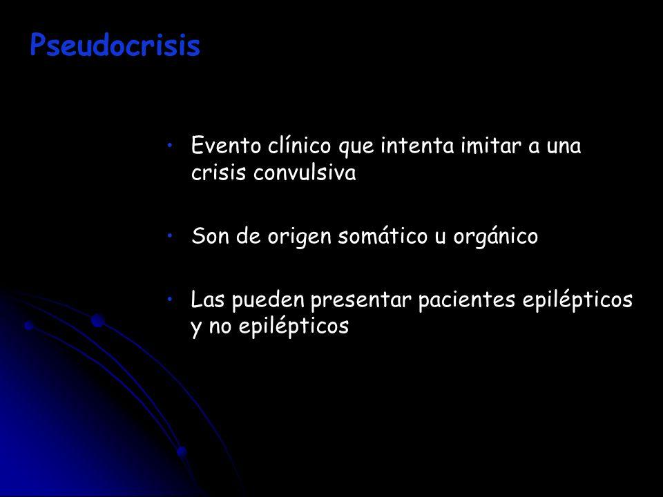 Pseudocrisis Evento clínico que intenta imitar a una crisis convulsiva