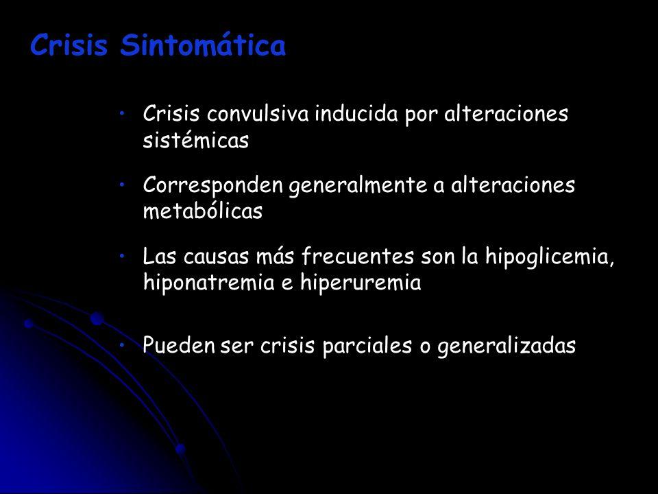 Crisis Sintomática Crisis convulsiva inducida por alteraciones sistémicas. Corresponden generalmente a alteraciones metabólicas.