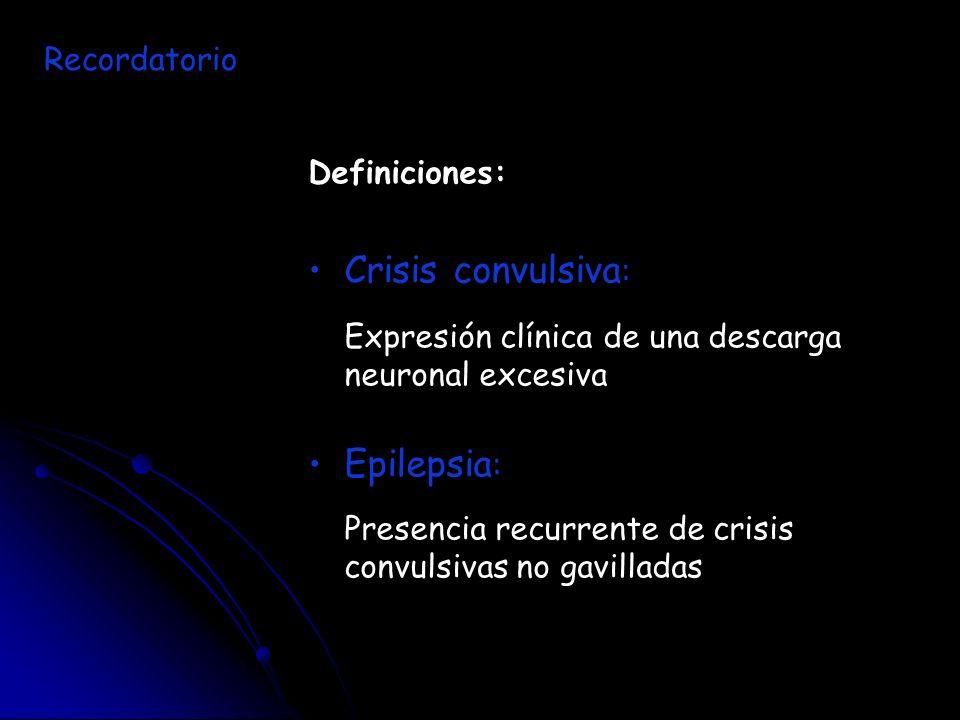 Crisis convulsiva: Epilepsia: Recordatorio Definiciones: