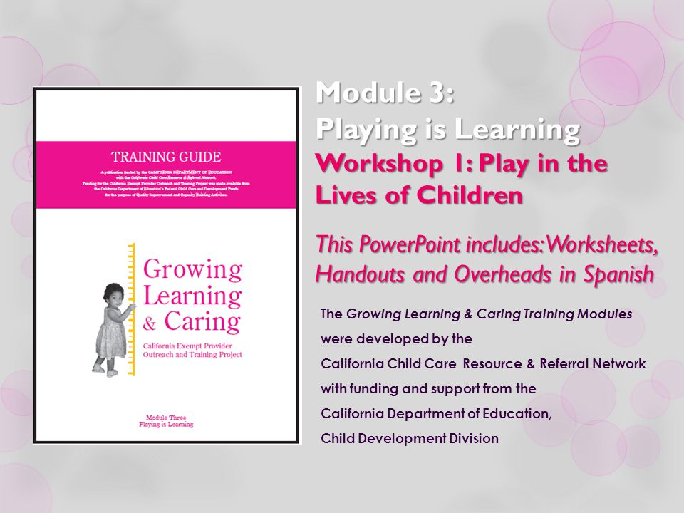 Module 3 Playing is Learning Workshop 1 Play in the Lives of – Child Development Worksheets
