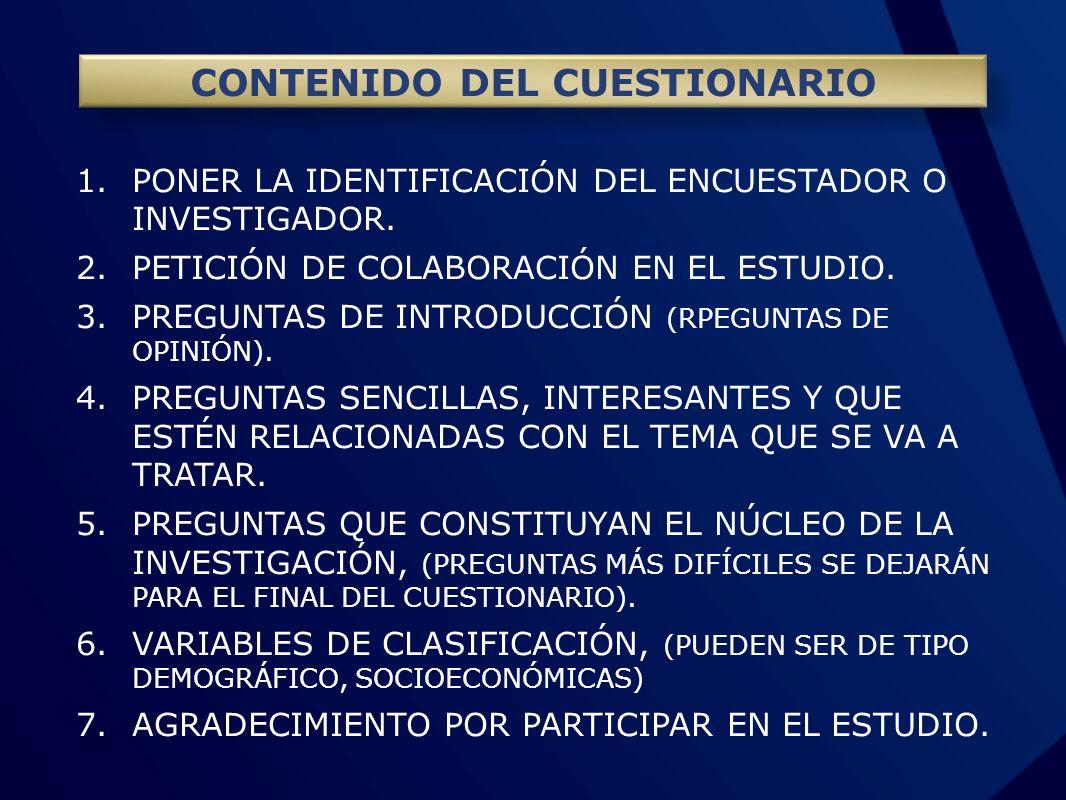 CONTENIDO DEL CUESTIONARIO