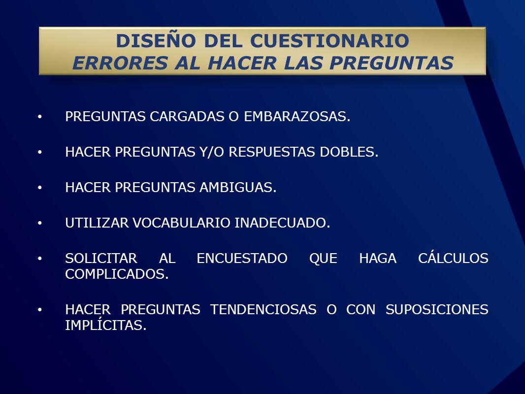 DISEÑO DEL CUESTIONARIO ERRORES AL HACER LAS PREGUNTAS