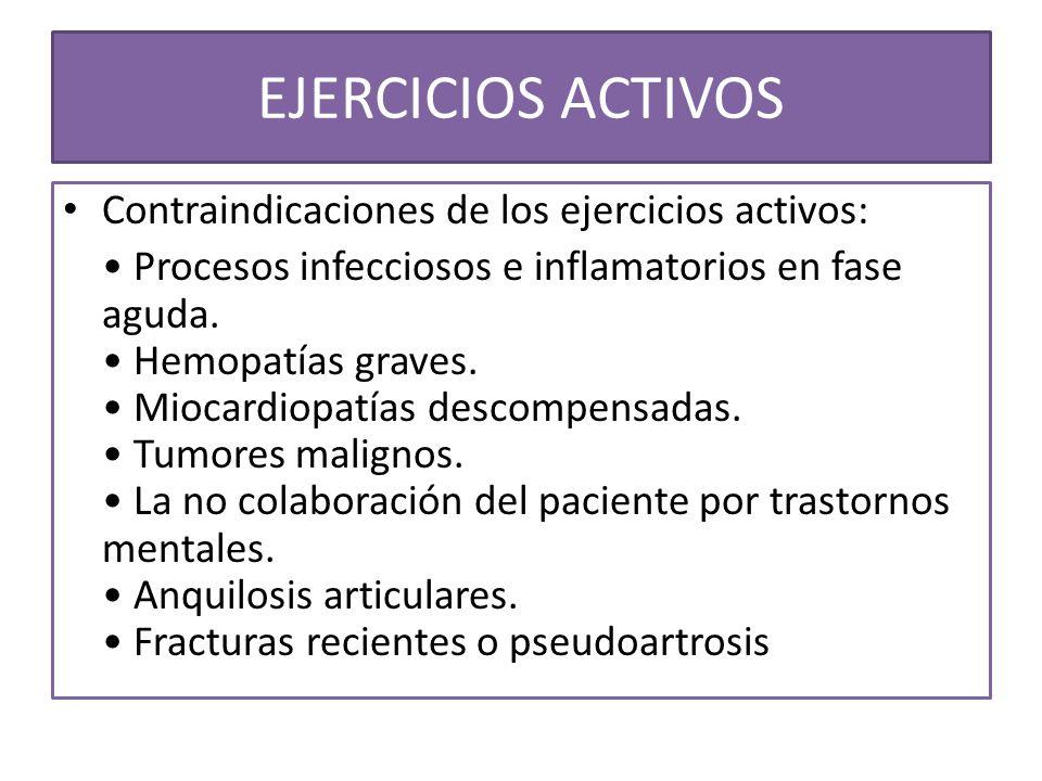 EJERCICIOS ACTIVOS Contraindicaciones de los ejercicios activos: