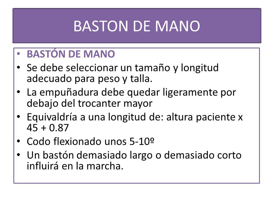 BASTON DE MANO USO DE MULETAS BASTÓN DE MANO