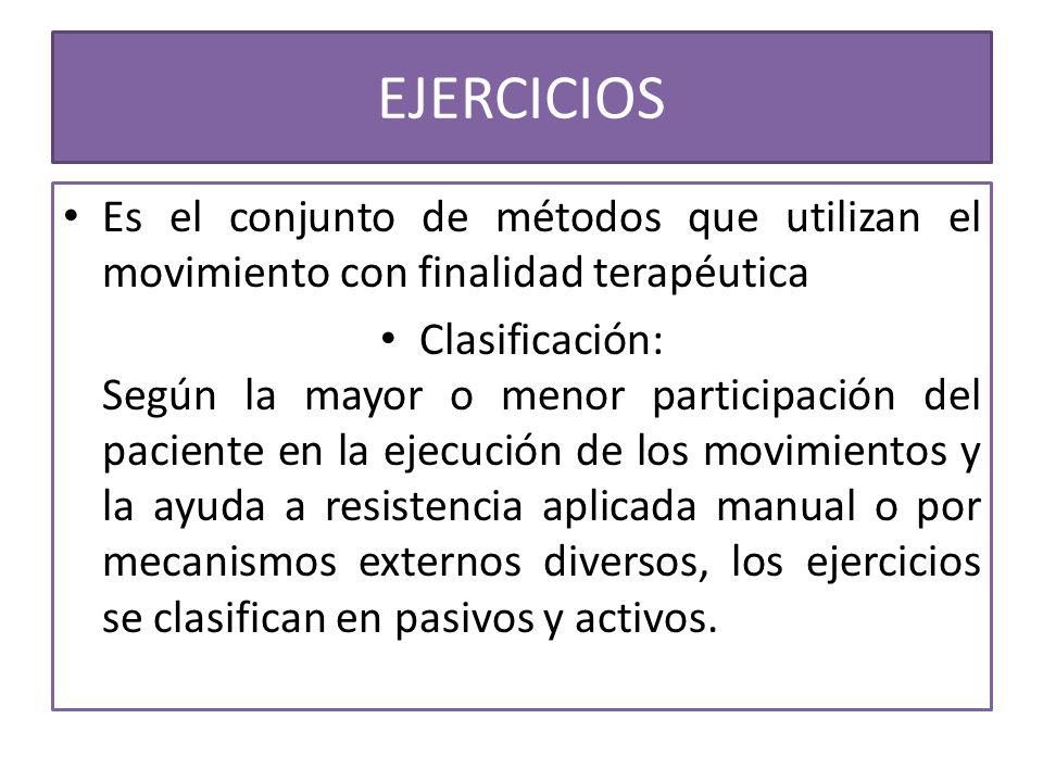 EJERCICIOS Es el conjunto de métodos que utilizan el movimiento con finalidad terapéutica.