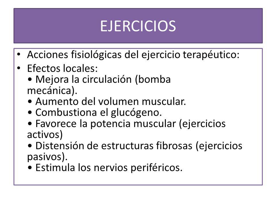 EJERCICIOS Acciones fisiológicas del ejercicio terapéutico: