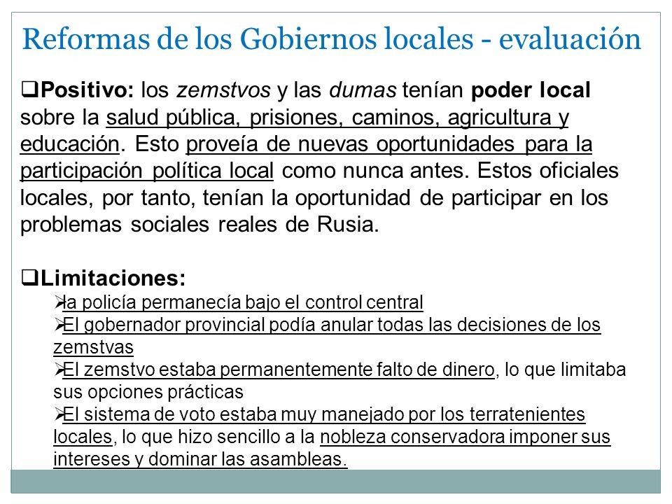 Reformas de los Gobiernos locales - evaluación
