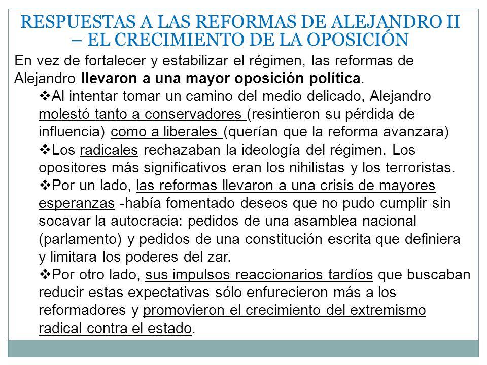 RESPUESTAS A LAS REFORMAS DE ALEJANDRO II – EL CRECIMIENTO DE LA OPOSICIÓN