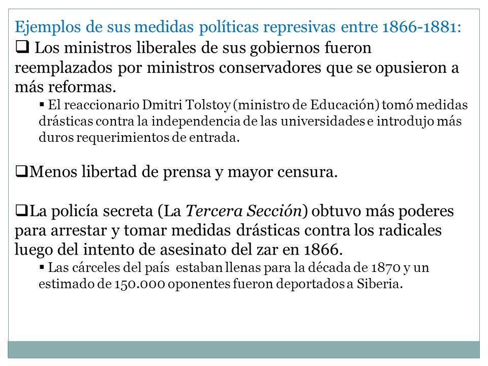Ejemplos de sus medidas políticas represivas entre 1866-1881: