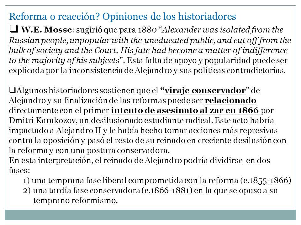 Reforma o reacción Opiniones de los historiadores
