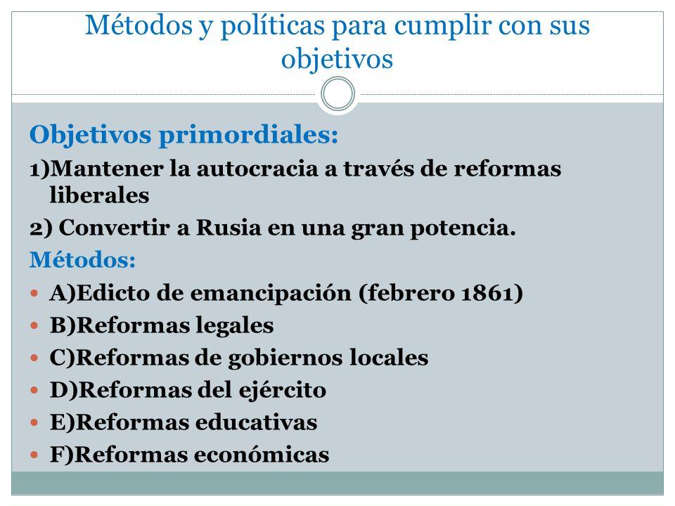 Métodos y políticas para cumplir con sus objetivos