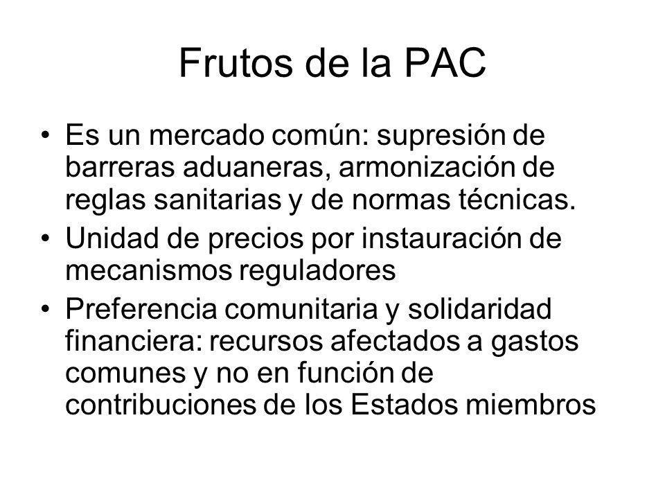 Frutos de la PAC Es un mercado común: supresión de barreras aduaneras, armonización de reglas sanitarias y de normas técnicas.