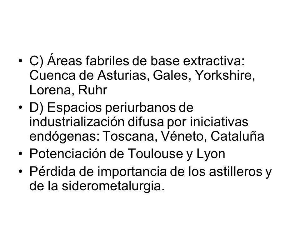 C) Áreas fabriles de base extractiva: Cuenca de Asturias, Gales, Yorkshire, Lorena, Ruhr