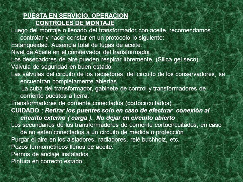 PUESTA EN SERVICIO, OPERACION