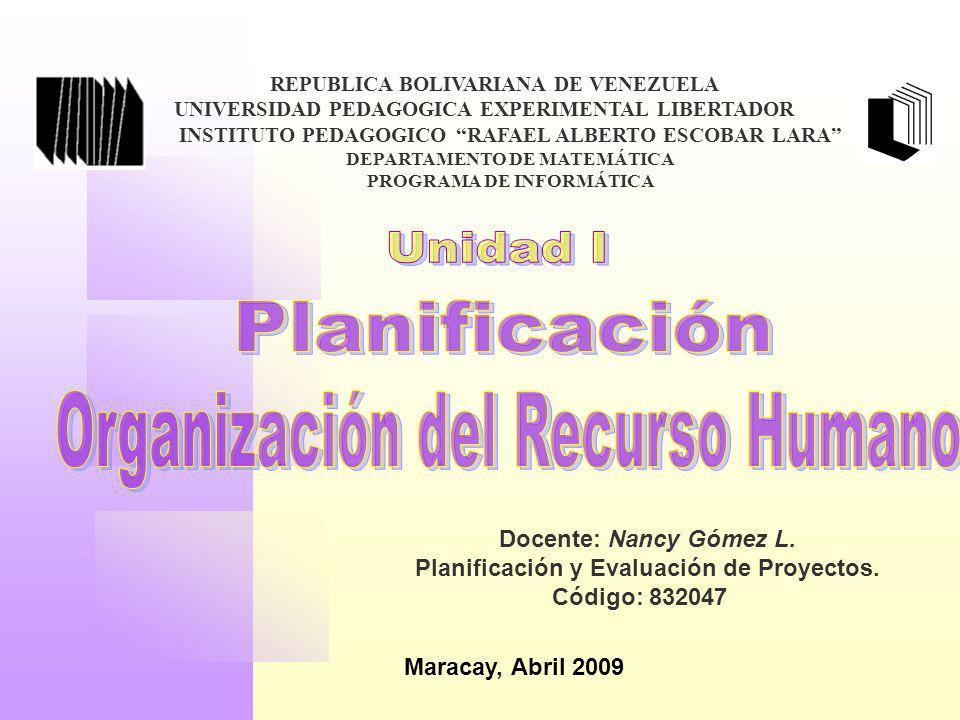 Planificación Organización del Recurso Humano