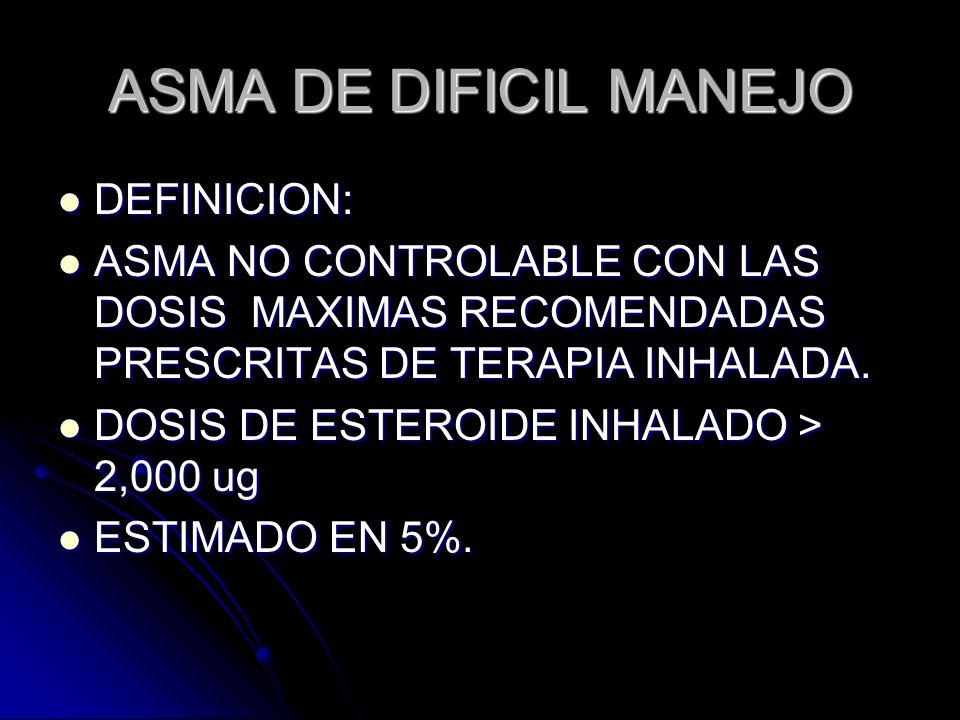 ASMA DE DIFICIL MANEJO DEFINICION: