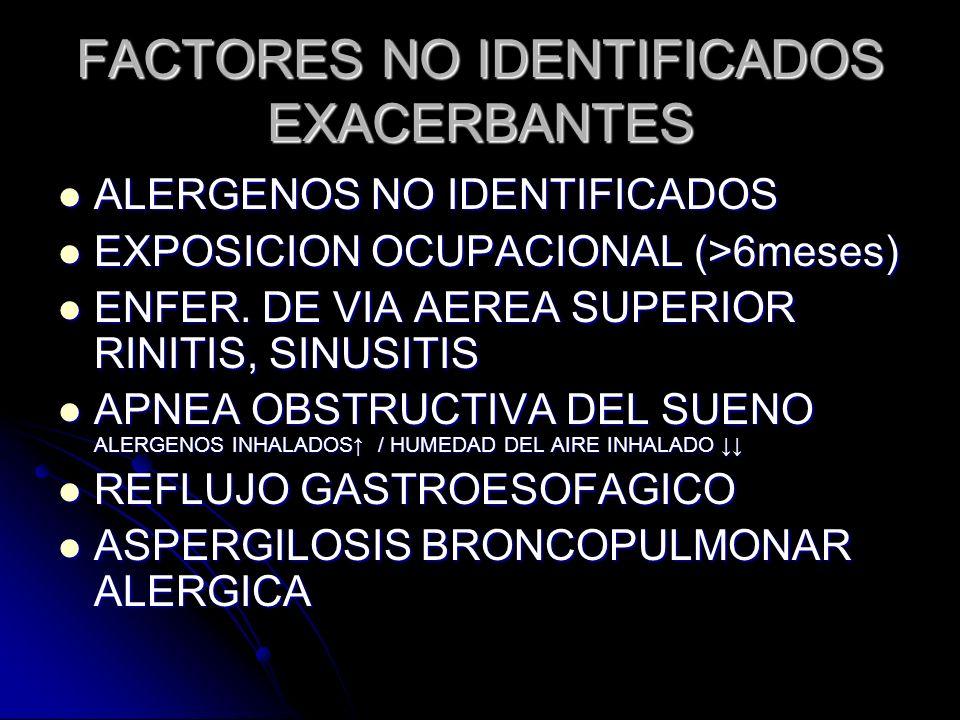 FACTORES NO IDENTIFICADOS EXACERBANTES