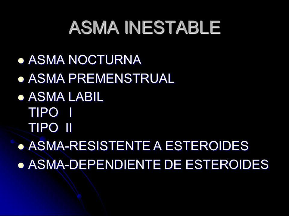 ASMA INESTABLE ASMA NOCTURNA ASMA PREMENSTRUAL