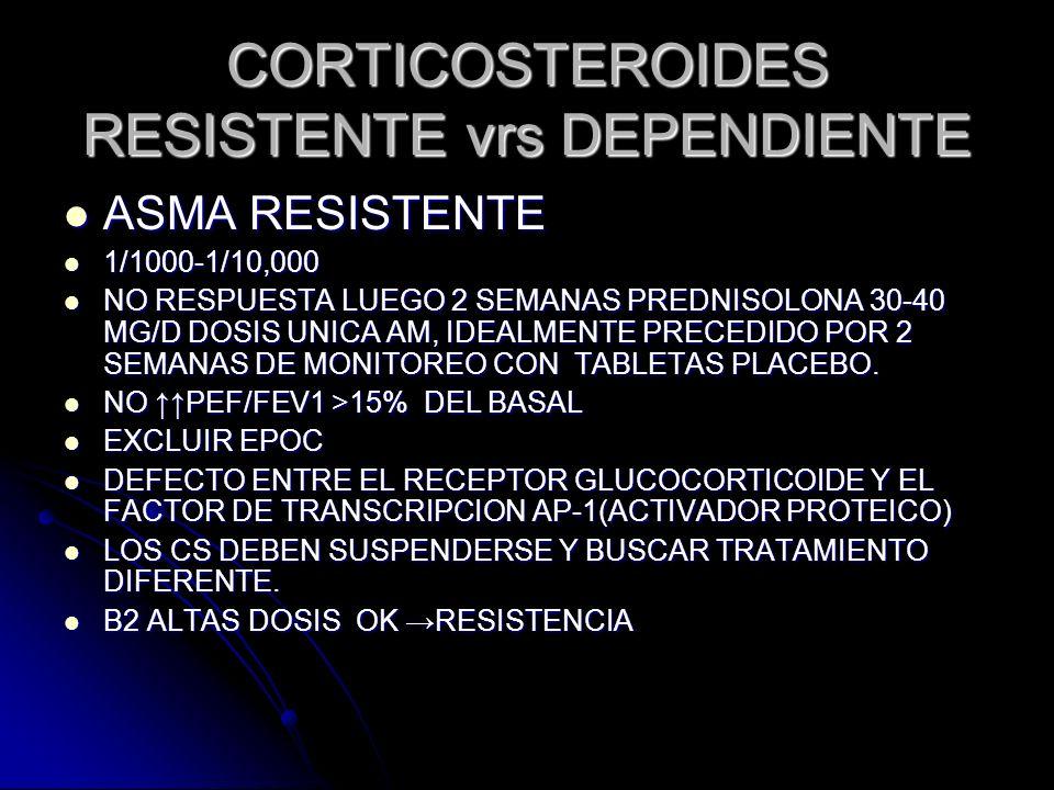 CORTICOSTEROIDES RESISTENTE vrs DEPENDIENTE