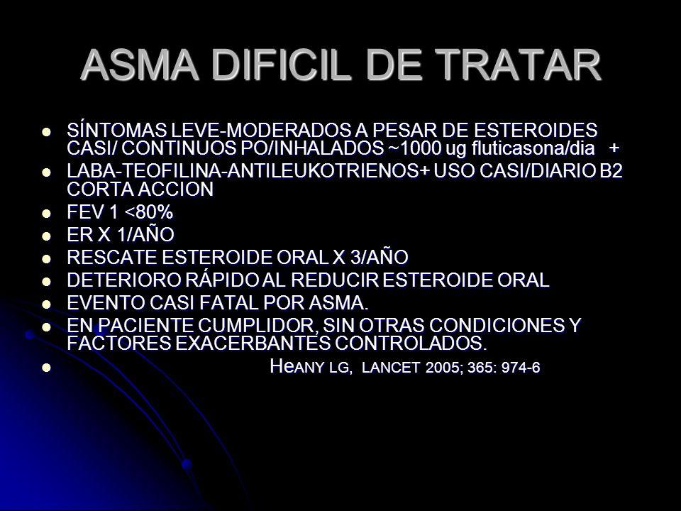 ASMA DIFICIL DE TRATARSÍNTOMAS LEVE-MODERADOS A PESAR DE ESTEROIDES CASI/ CONTINUOS PO/INHALADOS ~1000 ug fluticasona/dia +