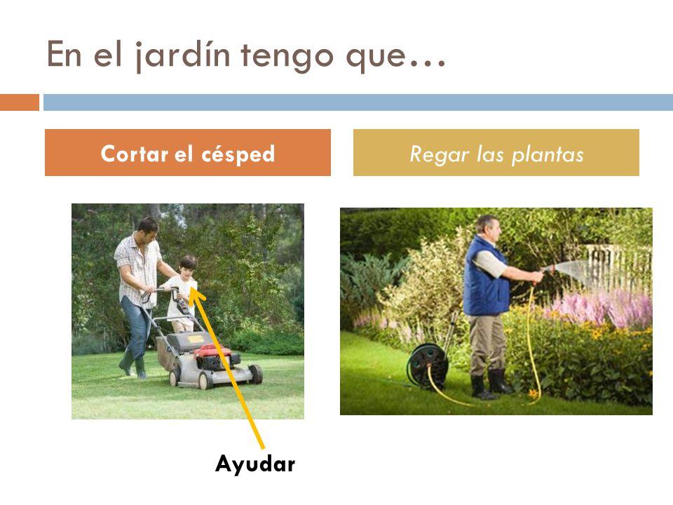 En el jardín tengo que… Cortar el césped Regar las plantas Ayudar